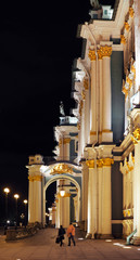 Building of the State Hermitage Museum at night. The Winter Palace, tourists
