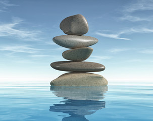 Conceptual of image with meditation stones.