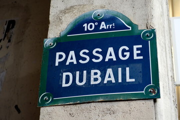 passage Dubail; plaque de nom de rue; Paris