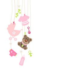 Hanging Baby Symbols Girl Teddy