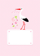 Stork Mobilé Baby Girl Symbols Hanging