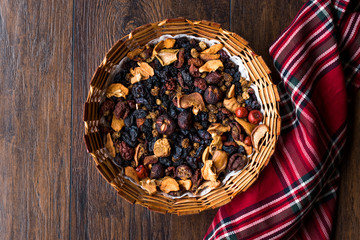 Mix of Dried Fruits; Apple, Apricot, Mulberry, Raisin, Fig, Cranberry, Raspberry and Date in Wooden Basket.
