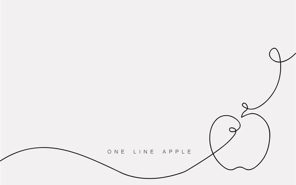 Apple icon vector one line drawing isolated on the white background. Vector illustration.