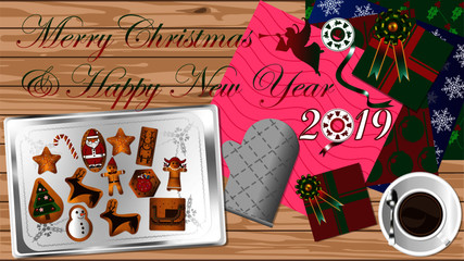 Merry Christmas and Happy New Year 2019 celebrate cookies party preparation on table top with beautiful bow ribbon multiple style of paper gift and a cup of coffee