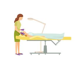 Spa Procedure in Beauty Salon on Armchair Cartoon