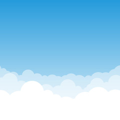 Blue gradient Sky and Clouds vector illustration with air effect. You can use it as a background and place your text. Stock illustration