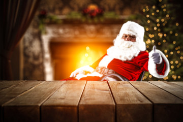 table background of free space and red old santa claus