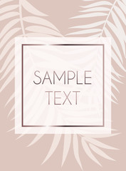 Abstract Rose Gold Beautifil Palm Tree Leaf  Silhouette Background Vector Illustration