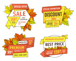 Shopping Signs with Info About Sales, Price Tags