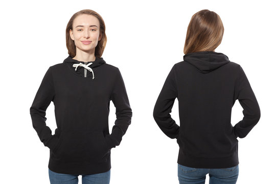 young girl in black sweatshirt front and rear, black hoodies, blank isolated on white background