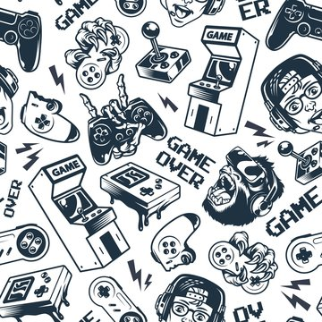 Vintage gaming seamless pattern