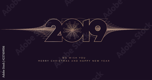 merry christmas and happy new year 2019 business greeting card modern vector illustration concept for