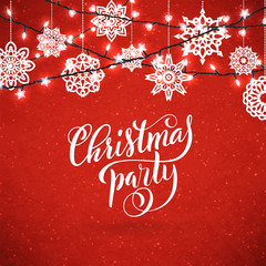 Merry Christmas party poster with hand-drawn lettering. Design template for Xmas party. Vector