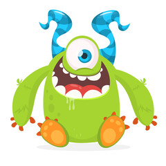 Vector cute caroon alien with one eye. Halloween monster character