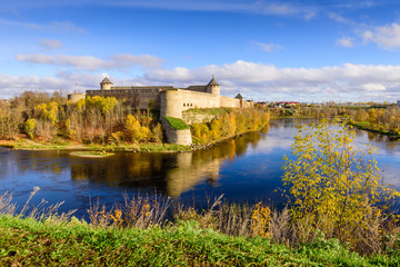 the ancient Russian fortress in Ivangorod, the monument and popular tourist attraction on the border with Estonia, Ivangorod, Russia