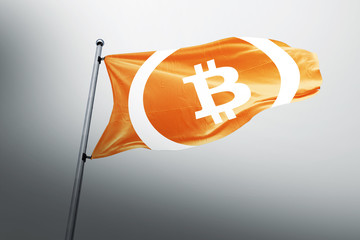 Bitcoin Cash BCC cryptocurrency 3d realistic render flag illustration