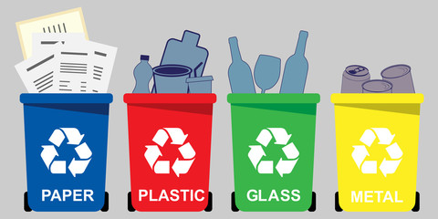 Four selective waste bins for  paper, plastic, glass, metal