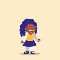 cute little girl black avatar character