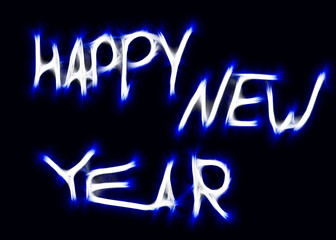 neon inscription happy new year with effects