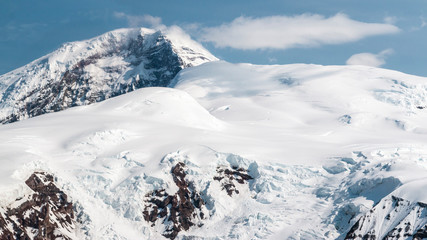 An aerial landscape view of Wrangell-St. Elias National Park in Alaska.