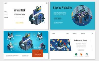 Isometric Hacker Activity Websites Set