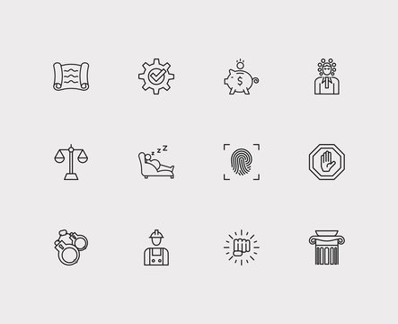 Law icons set. Fingerprint and law icons with column, compliance and justice. Set of gesture for web app logo UI design.