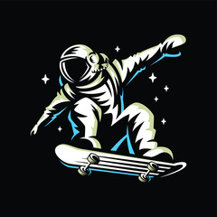 astronaut rides on skateboard through the universe.Space vector illustration.