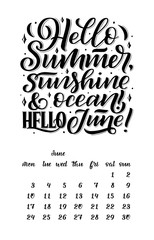calendar for month 2 0 1 9. Hand drawn lettering quotes for calendar design. Hand drawn style