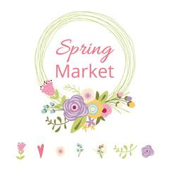 Cute spring floral wreath Text Spring Market Vector illustration Flower hand drawn decor