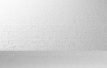 Styrofoam white texture and background, side view