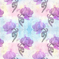 Tulips - flowers and leaves. Spring flowers. Seamless pattern. Background image. Watercolor. Collage of flowers, leaves and buds on a watercolor background.