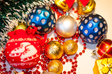 beautiful toys on the Christmas tree, balls on the Christmas tree, closeup