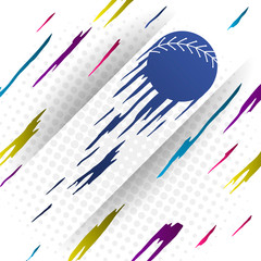 Modern style baseball vector background with blue silhouette of baseball ball.