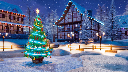 Wall Mural - Outdoor Christmas tree decorated by luminous star and Xmas lights garland with defocused rural landscape on background at snowfall winter night. Festive 3D illustration.