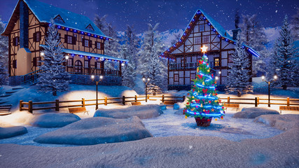 Wall Mural - Magical Christmas night in cozy alpine village high in snowy mountains with half-timbered houses and illuminated Xmas tree on snowbound square at snowfall. 3D illustration.