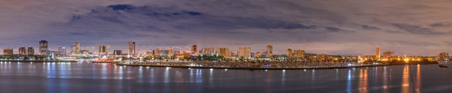 Long Beach California Panorama at night in cloudy night