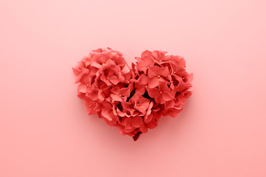 Valentine's Day card. Heart shape made of flowers. Love symbol. Living Coral color of the Year 2019.