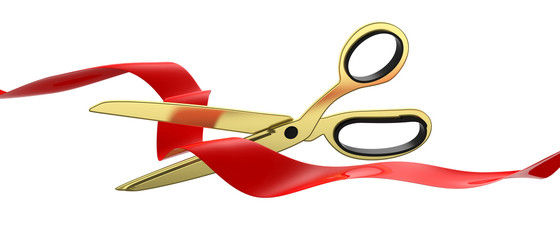 Scissors cutting red silk ribbon isolated cutout against white background, banner. 3d illustration