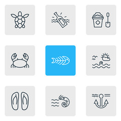 Vector illustration of 9 nautical icons line style. Editable set of anchor, bottle with note, sea turtle and other icon elements.