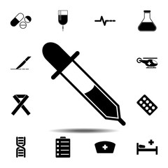 pipette icon. Simple glyph vector element of Medecine set icons for UI and UX, website or mobile application