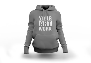 Gray Hooded Sweatshirt Mockup