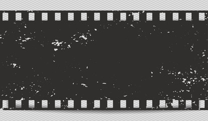 Black scratched horizontal grunge film strip with shadow for advertisement text, background. Vector illustration.