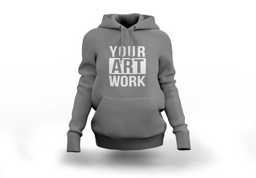 Gray Hooded Sweatshirt Mockup