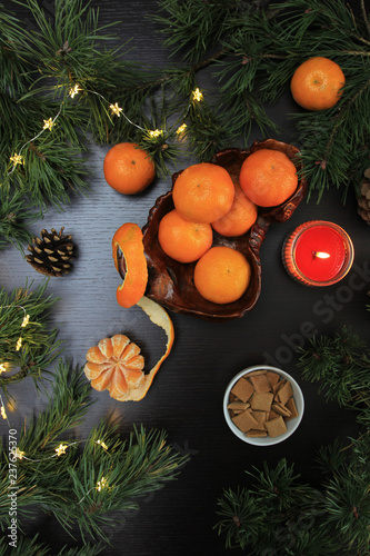 Clementine For Christmas.Mandarins In Flat Lay Mandarins In Still Life Composition