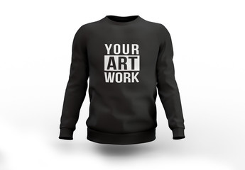 Black Crew Neck Sweatshirt Mockup