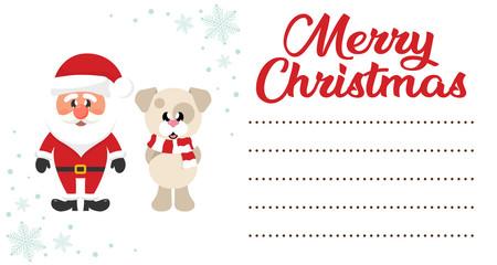 cartoon christmas santa claus and сhristmas dog on the christmas letter to santa