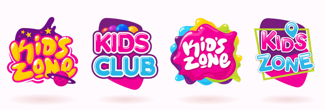 Kids zone colorful banner set. Colorful caramel text on abstract background. Sign for children's game room. Funny cartoon frames. Bright decoration element for childish party. Vector eps 10.