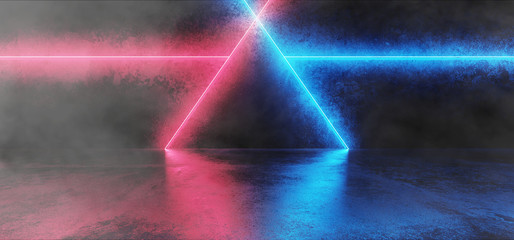 Smoke And Fog Abstract Shaped Sci Fi Futuristic Modern Vibrant Glowing Neon Purple Pink Blue Laser Tube Lights In Long Dark Empty Grunge Texture Concrete Tunnel Background 3D Rendering