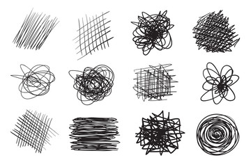 Hand drawn lines on isolated background. Chaotic textures with hatching. Wavy tangled backdrops. Black and white illustration. Elements for posters and flyers