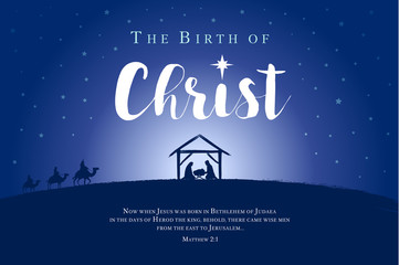 Merry Christmas, birth of Christ banner. Nativity scene of baby Jesus in the manger with Mary and Joseph in silhouette, surrounded by star, three wise men on camels and bible text. Vector illustration